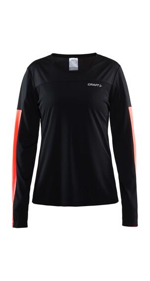 Craft Radiate Hardloopshirt lange mouwen Dames rood/zwart